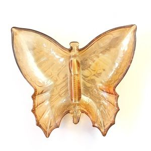 Vintage Butterfly Shaped Orange Amber Trinket Bowl